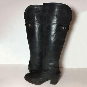 FRYE 77596 Jane Tall Cuff Black Boots Women Size 7